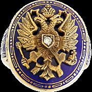 Rare Vintage 14K Russian Double Eagle Enameled Ring