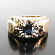 Gent's Vintage 14K Sapphire Ring