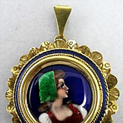 Vintage 18K Enameled Portrait Brooch Sgn. France