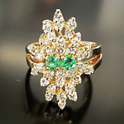 Lady's Vintage 14K Diamond & Emerald Ring