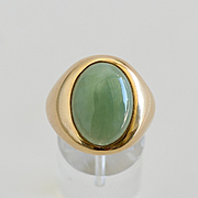 Vintage Gent's 14K Jade Ring