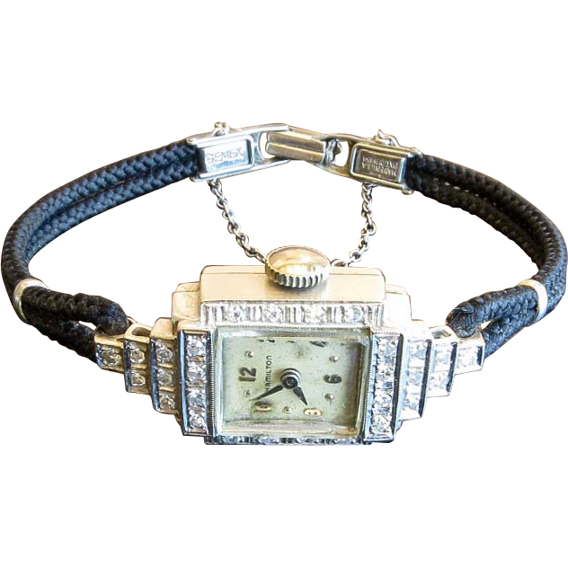 Vintage Lady's 14K White Gold Diamond Hamilton Watch from the-vault on ...
