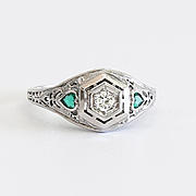 Circa 1910 18K Lady's Diamond & Emerald Ring