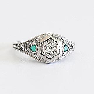 Circa 1910 18K Lady's Diamond & Emerald Ring