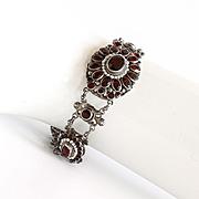 Lady's Circa 1900 Austro Hungarian Silver Garnet & Pearl Bracelet