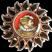 Circa 1860 Antique Lady' 14K & 18K Onyx Enameled Portrait Ring