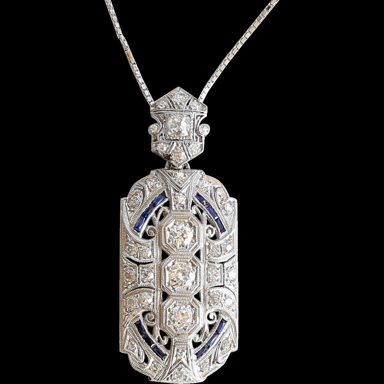 Lady's Platinum Edwardian Diamond & Sapphire Lavaliere