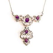 Magnificent Lady's Circa 1900 14K, Silver, Amethyst, Pearl & Rose Cut Diamond Necklace