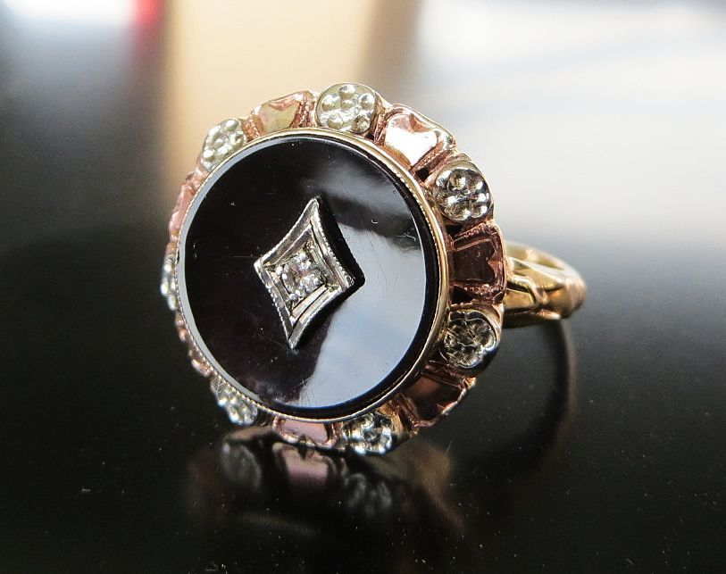 Lady's Antique Circa 1900 Rose 10K Gold Onyx & Diamond Ring