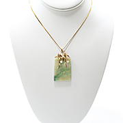 Lady's Antique 14K Jadeite & Pearl Calligraphy Pendant