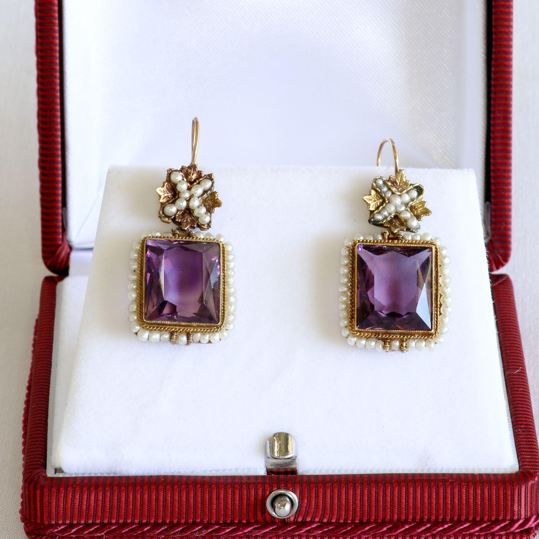 Circa 1890 Lady's 14K Amethyst & Seed Pearl Earrings