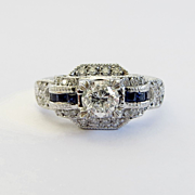 Beautiful Vintage Custom Lady's Diamond & Sapphire Engagement Ring