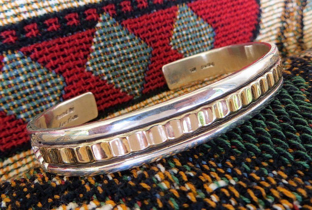Attractive Vintage Sterling & 14K Cuff Bracelet