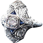 Very Beautiful Lady's Platinum Art Deco Diamond & Sapphire Ring
