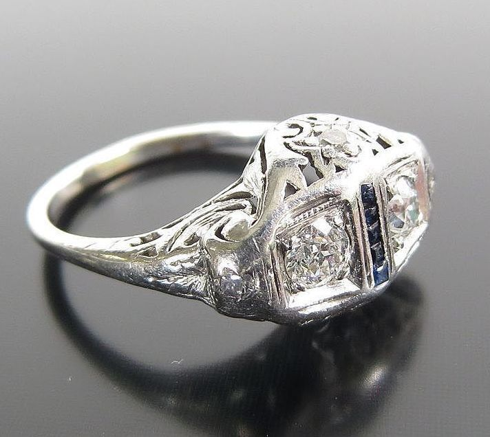 Lady's Circa 1900 Platinum Diamond & Sapphire Ring