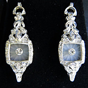 Stunning Pair Of Lady's Platinum Diamond  Earrings