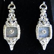 Stunning Pair Of Lady's Platinum Diamond  Earrings
