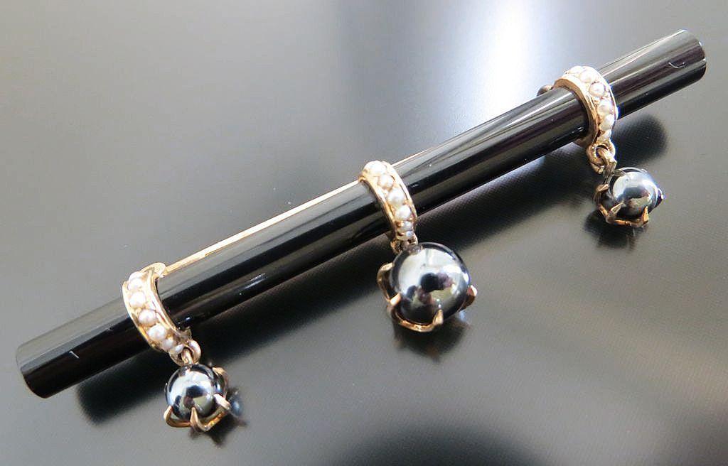 Circa 1870 Antique Victorian 14K Onyx & Pearl Brooch