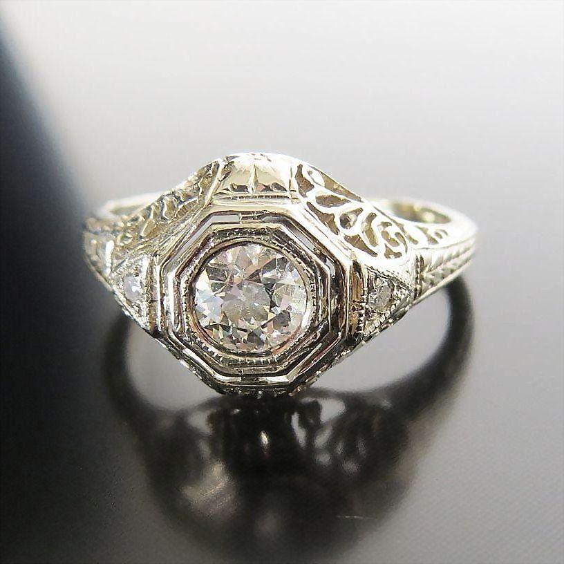 Art Deco Lady's 14K Diamond Ring
