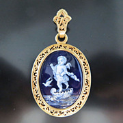 Antique Circa 1880 French Enameled Cherub Locket