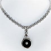 Ladys Vintage Art Deco Style Diamond & Onyx Necklace