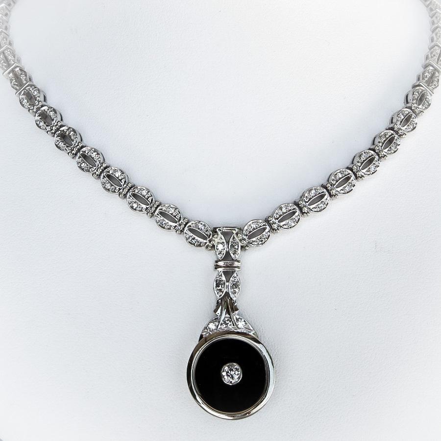 Ladys Vintage Art Deco Style Diamond & Onyx Necklace