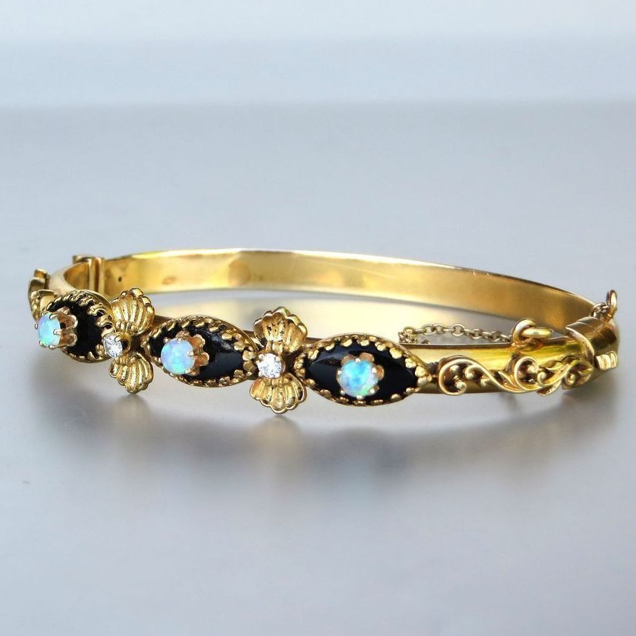 Antique Circa 1910 14K Enameled Diamond & Opal Bangle Bracelet