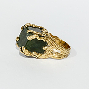 Amazing Vintage Custom Lady's 14K Jade Ring
