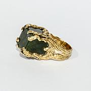 Amazing Vintage Custom Lady's 14K Jade Ring