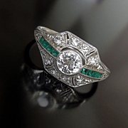 Lady's Platinum Art Deco Diamond & Emerald Ring