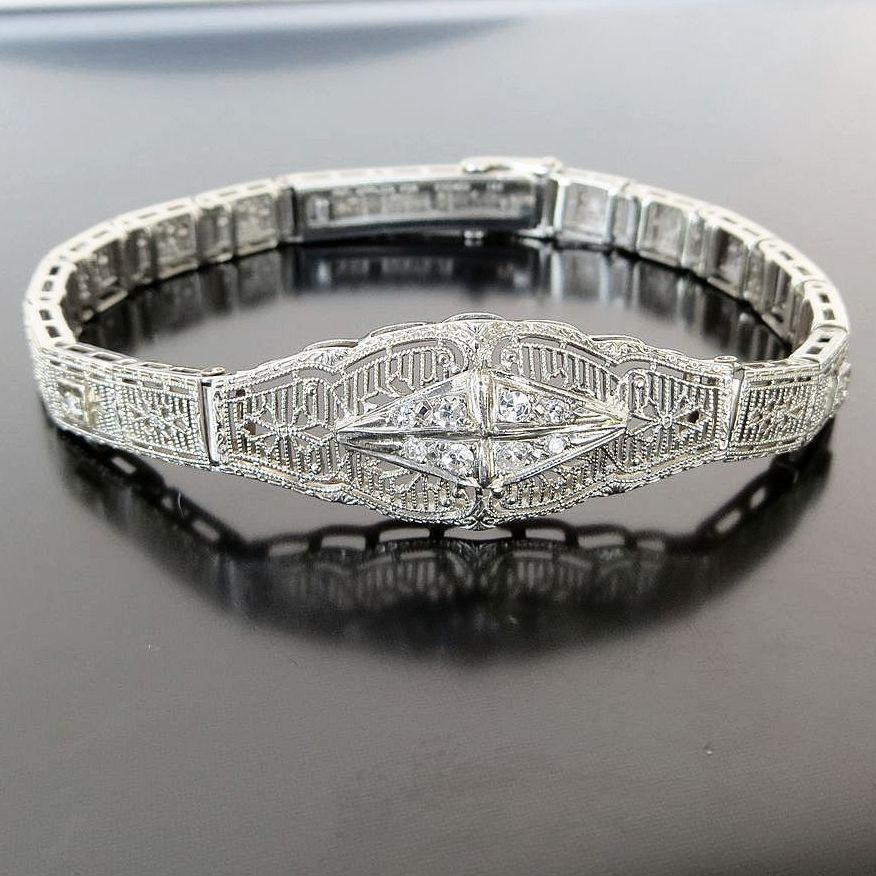 Vintage Lady's Circa 1920's 14K White Gold Diamond Bracelet