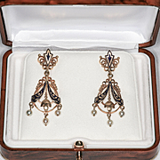 Circa 1880 Lady's Victorian 14K Enameled Pearl Drop Earrings