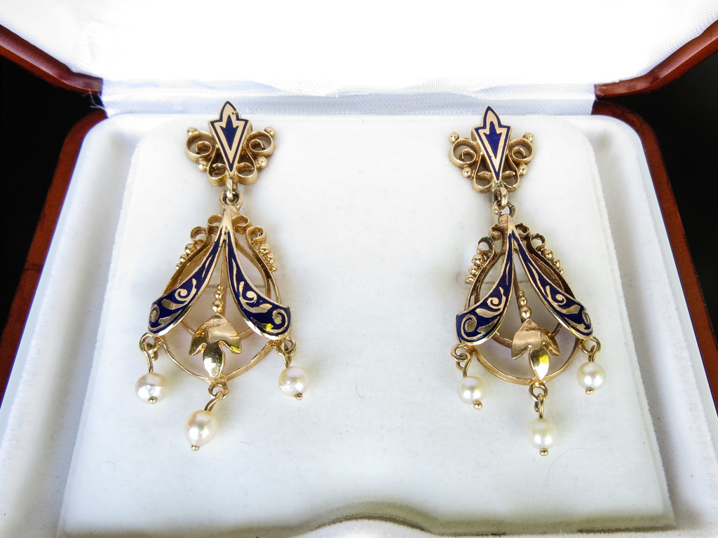 Antique Victorian 14K Gold Enameled Seed Pearl Drop Earrings
