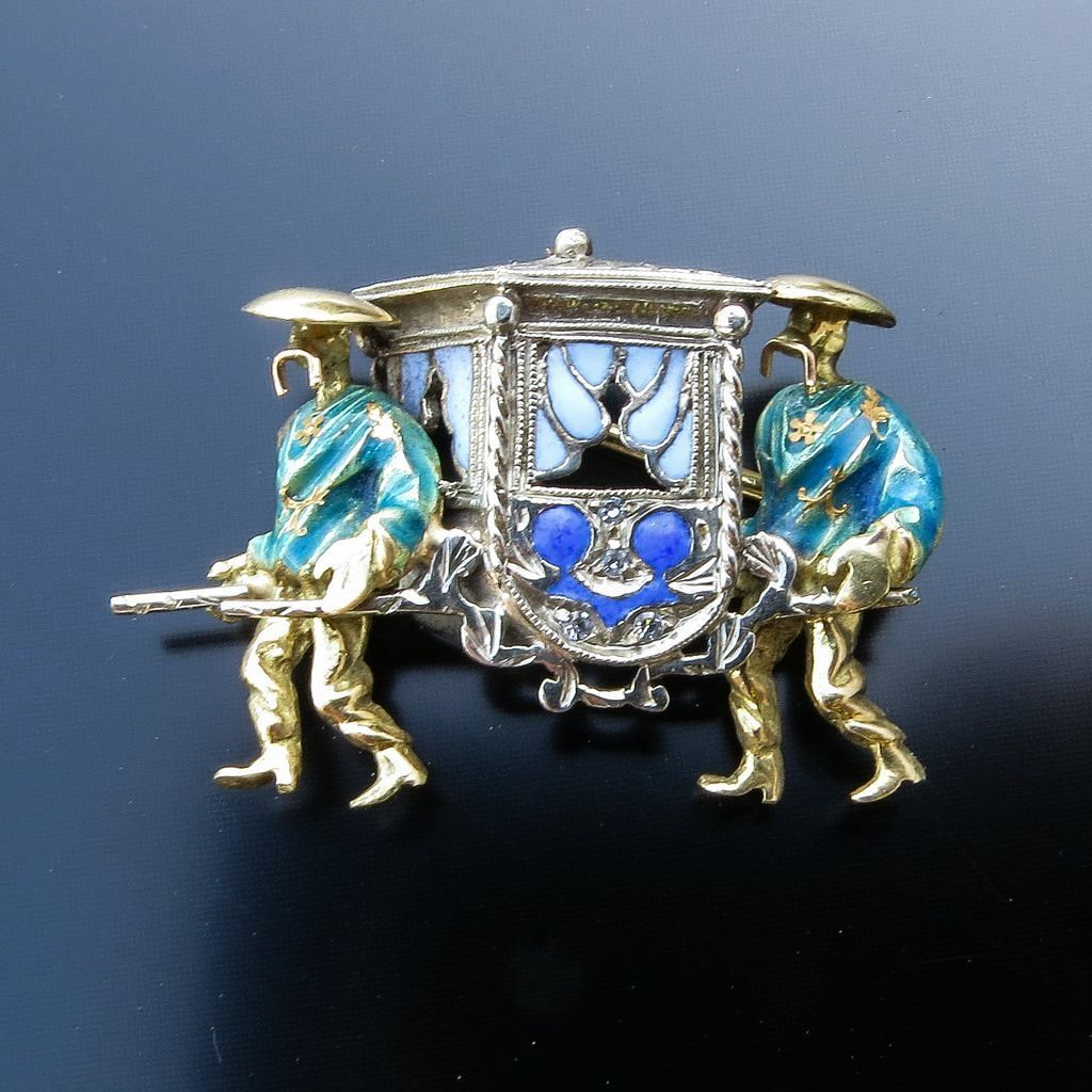 Vintage 18K Enameled Chinese Sedan Chair Brooch