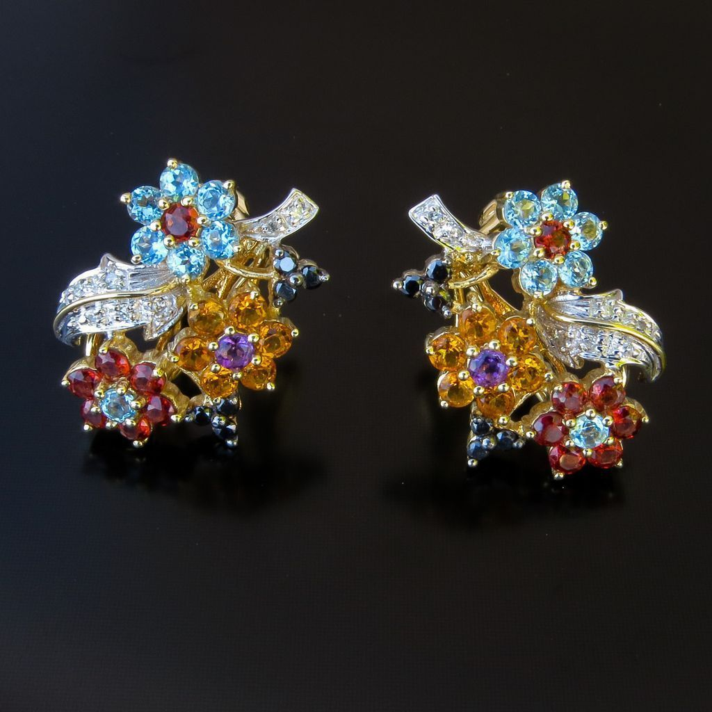 Fabulous Vintage Pair Of Lady's 14K Multi-Gemstone Floral Motif Earrings