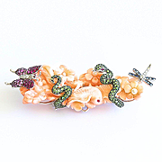 Museum Quality 18K Carved Coral Brooch Set With Gemstones