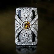 Lady's Exceptional Custom Vintage 18K Diamond & Onyx Ring