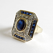 Lady's Vintage Custom 14K Sapphire & Diamond Ring