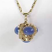 Circa 1900 18K Art Nouveau Chalcedony Fob & Chain