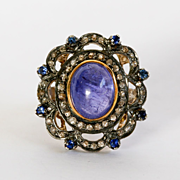 Lady's Viintage Silver & Gold Diamond, Sapphire & Tanzanite Ring