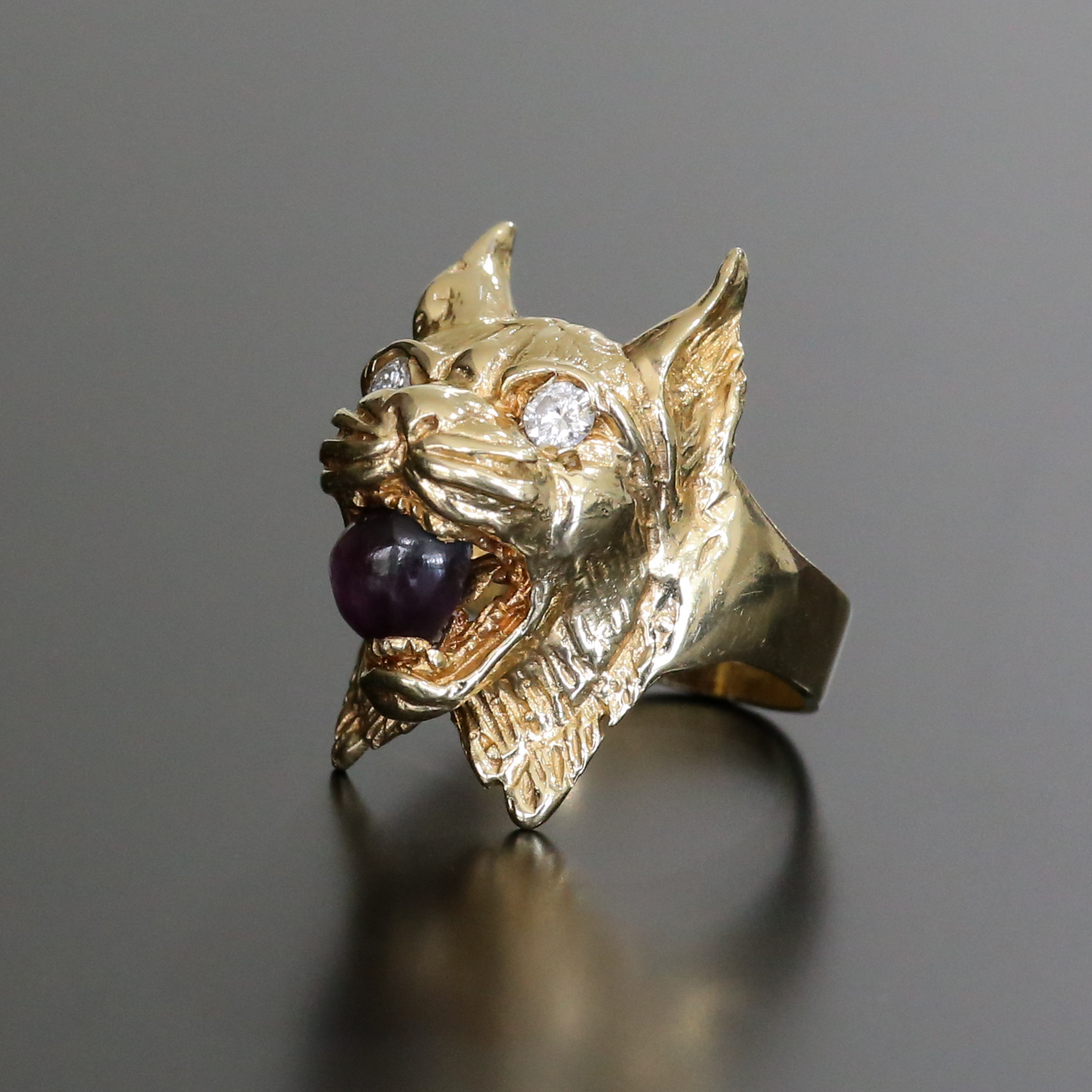 Magnificent Custom Vintage 14K Diamond & Ruby Bobcat Ring