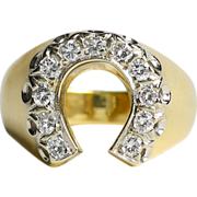 Beautiful Vintage 14K Diamond Horseshoe Ring