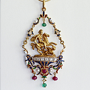 Rare Antique 18K Italian Pendant St. George Slaying The Dragon With Gem Stones