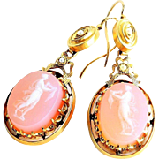 Circa 1880 Antique Lady's 14K Hard Stone Cameo Earrings