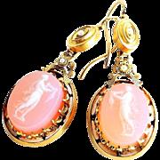 Circa 1880 Antique Lady's 14K Hard Stone Cameo Earrings
