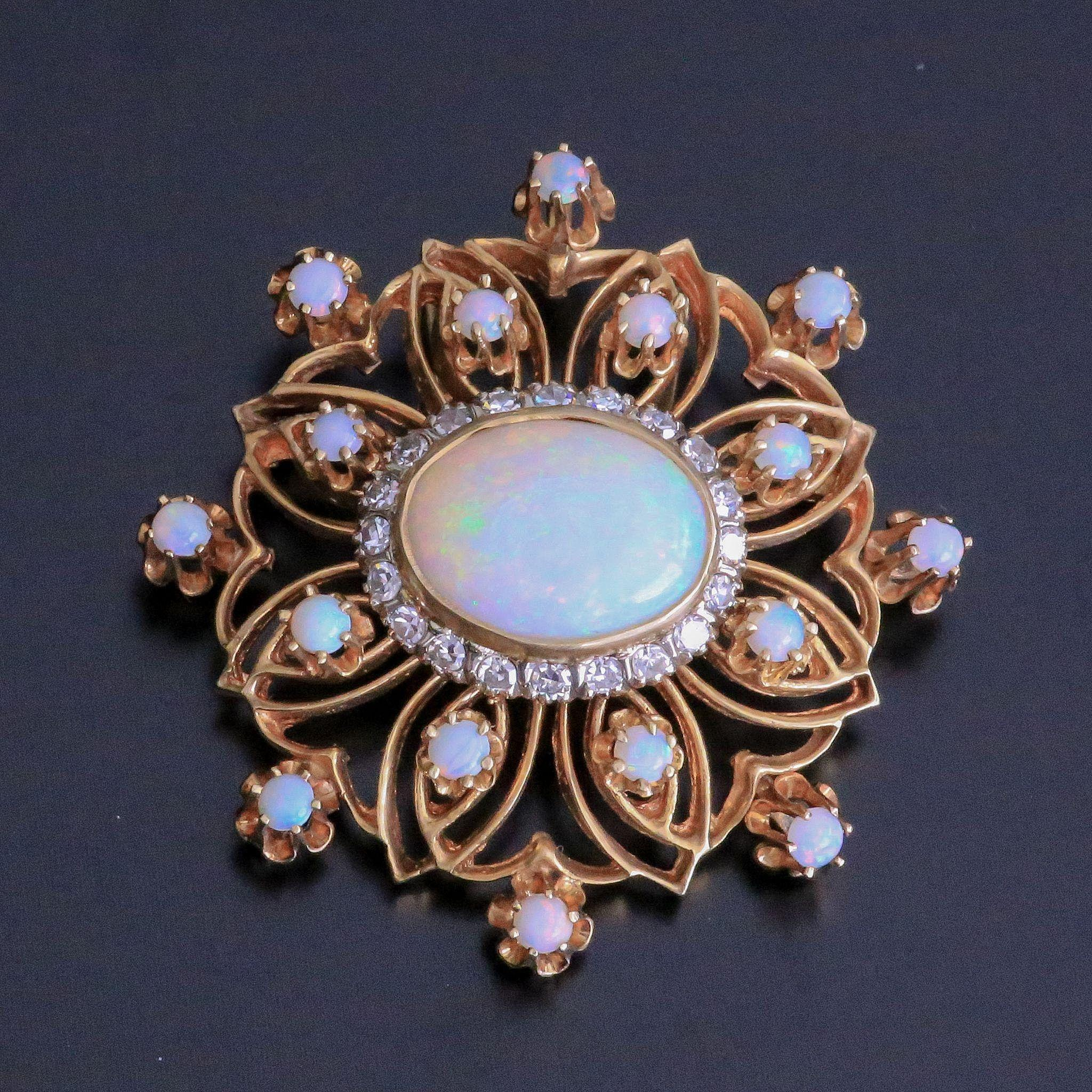 Exceptional C. 1910 Lady's 14K Opal & Diamond Brooch / Pendant
