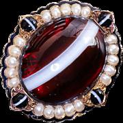 Rare Circa 1890 Art Nouveau Lady's Pearl & Agate Locket Brooch