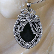 Lady's Vintage 14K Onyx & Diamond Pendant With 14K Chain