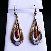 Very Rare Lady's Enameled Agate 9K Art Nouveau Earrings