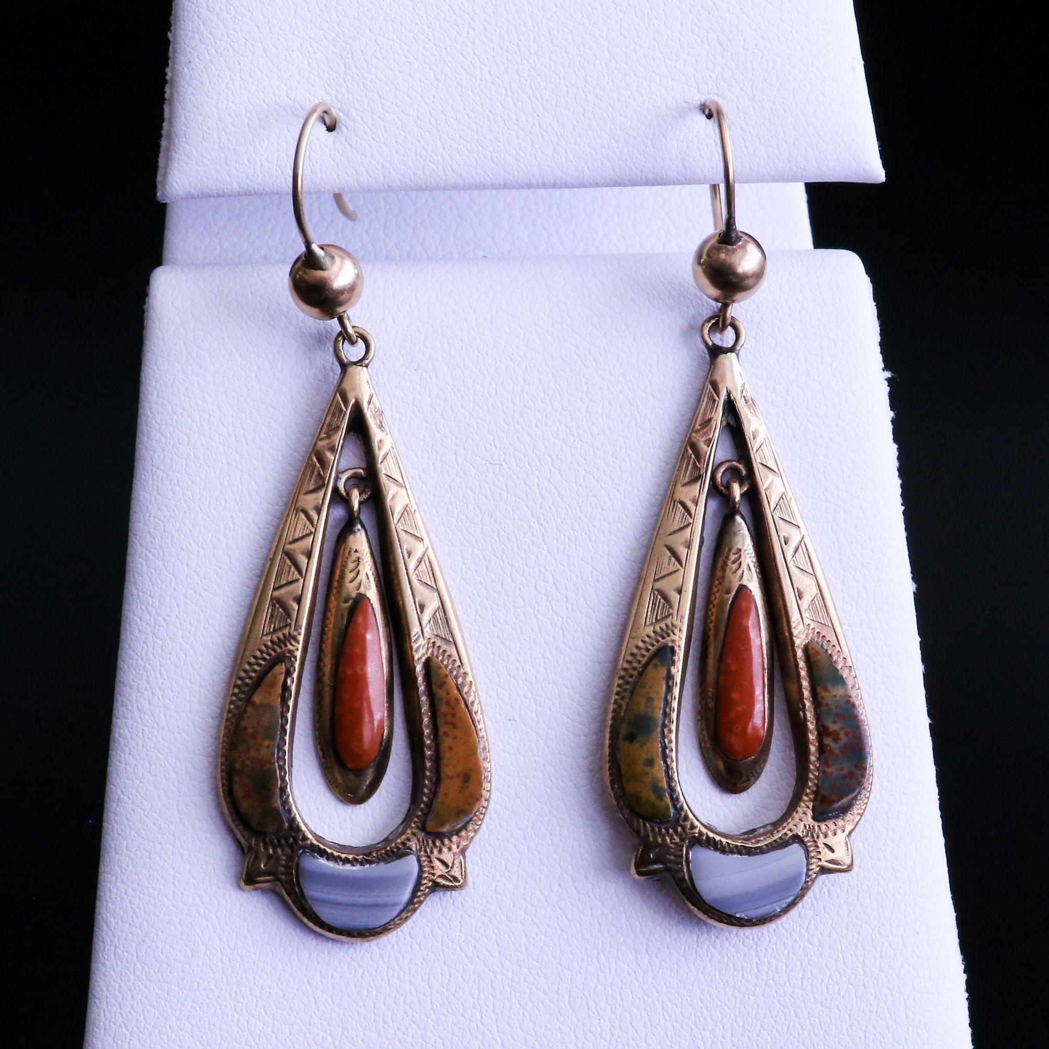 Very Rare Lady's Enameled Agate 9K Art Nouveau Earrings